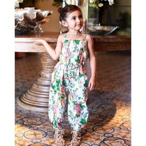 (Last 1-2T) Flower pattern sleeveless jumpsuit